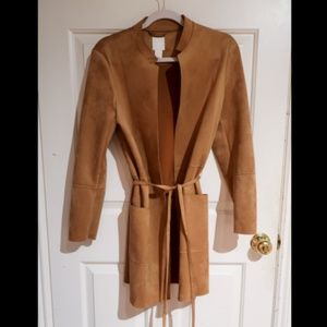 Faux Suede Coat in Camel